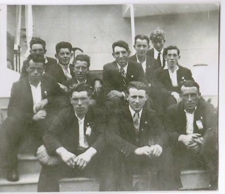 This photo was taken in Tuam, Co. Galway in June of 1936. It shows a group of young men who attended the Catholic Truth Society's Congress, the closing Mass of which was held at the rear of The Cathedral of the Assumption. At back L to R: Michael Noonan, Cloonagh, Milltown; behind him unknown; Raymond McGrath, Cloonagh, Milltown; Michael (Towrey) Kenny, Cloonagh, Milltown; Patrick Larkin, Cloonagh, Milltown; William (Bill) McGrath, Cloonagh, Milltown; next to him unknown; Cyril Lavelle (with glasses) Cloonagh, Milltown; Front Row:L to R: Patrick O'Donnell, Knock, Milltown; Michael Flaherty, Cloonagh, Milltown and Thomas (Murty) Corley, Cloonagh, Milltown.