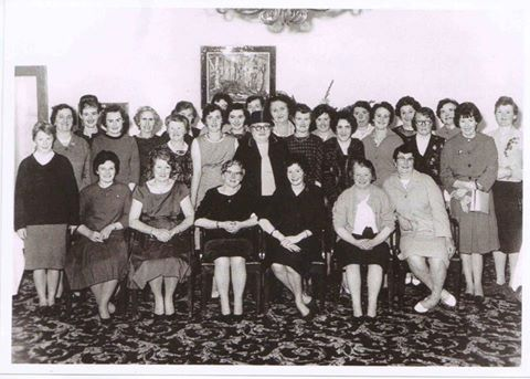 Back row: Ena Garvey, Mai Diskin, Margaret Coen, Bridie Grogan, Bridie Kirrane, Mrs Coyne, Gertie Varley, Mrs Donelon, Mary O'Connor, Kitty McManus, Catherine Concannon, Maureen Hughes, Kathleen Ruane, Bridie McGagh, Josephine Comer. Maud Connolly, Breda Molloy, Thekla Flannery, Bridgie Monaghan, Mary Tierney, Mrs Mallon, Cis Healy. Eileen Octigan, Teresa Godwin, Mrs Hughes, Mrs Flannery, Mary Glynn, Margaret Octigan, Mary Varley