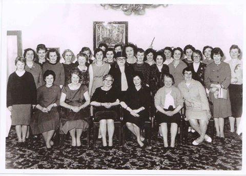 Back row: Ena Garvey, Mai Diskin, Margaret Coen, Bridie Grogan, Bridie Kirrane, Mrs Coyne, Gertie Varley, Mrs Donelon, Mary O'Connor, Kitty McManus, Catherine Concannon, Maureen Hughes, Kathleen Ruane, Bridie McGagh, Josephine Comer. Maud Connolly, Breda Molloy, Thekla Flannery, Bridgie Monaghan, Mary Tierney, Mrs Mallon, Cis Healy. Eileen Octigan, Teresa Godwin, Mrs Hughes, Mrs Flannery, Mary Glynn, Margaret Octigan, Mary Varley