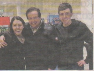 Photo shows Marty with Karen and her brother Kevin Naughton at the N17 Superstore