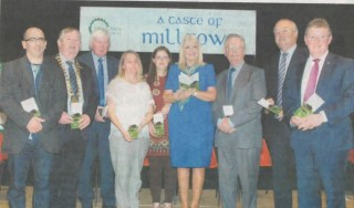 Booklet Launched: Nick Skehan,  Cathaoirleach of  County Galway Michael Connolly, Tony Murphy (Committee), Liz Gardiner, Pauline Connolly, Minister Mary Mitchell O'Connor, Frank Glynn (Committee), Michael Rhatigan (Committee) and Minister Sean Canney at the launch of the Milltown Heritage Trail booklet | Johnny Ryan
