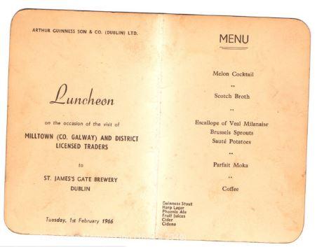 Luncheon menu | Arthur Guinness Son & Co (Dublin) Ltd