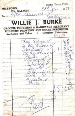 Shop Receipt 3rd Jan 1975 | MHG