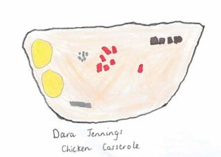 Chicken Casserole | Drawing by Dara Jennings
