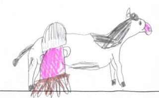 Milking the cow | Drawing by Ella Diskin