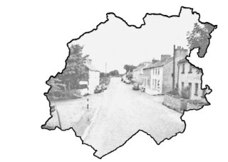 A photo of Moycullen in times past, set in the outline of the townlands of Moycullen  | Photo Credit Moycullen Historical Society