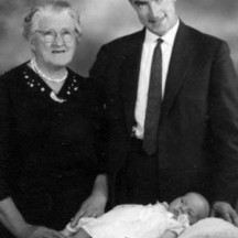Bridget Power (nee Connolly) with her son Gerry and grandson John on his christening 1959 | Photo Credit John Power