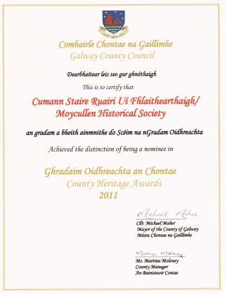 Cert for Nomination in County Heritage Awards 2011  | Photo Credit Moycullen Historical Society