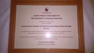 Short List Certificate for Cathaoirleach's Community Awards 2016 | Moycullen Historical Society