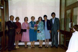 Photo taken at Miss Greene's retirement in 1981. L-R Principal Mr Oliver Burke, Mrs Higgins , Mrs O'Halloran, Miss Greene, Mrs Gannon, Miss Curran, Mr O'Toole. | Vera Morrison