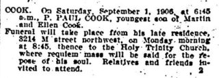 Death notice Paul Cook  | Taken from The Sun Star, Washington DC 2 Sept 1906