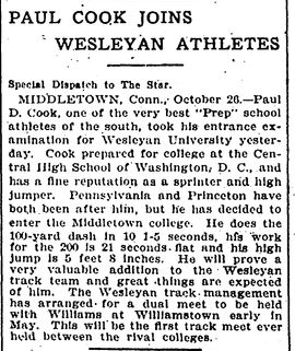 Paul Cook joins Wesleyan Athletics | Evening Star Washington DC Oct 26 1905