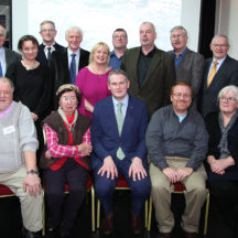 'The Year of O'Flaherty' Festival launch committee.  Back Row L to R:  Damhnait Uí Mhaoldúin, Tim Griffin, Tara De Renzy, Dr. Paul Naessens, Hugh Gallagher, Hazel Morrison-Pagett, Richard Long, Seán Ó Coistealbha, Joe Loughnane, Walter McDonagh, Mary Ann Feeney.  Front Row L to R:  Tomas O'Cadhain, Miriam McKiernan, Minister of State Sean Kyne TD, Mark McNally, Mary O'Shea.  Absent from Photo:  Conall Ó Murchadha and Jenny Young