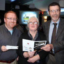 Chair of Moycullen Historical Society Mark McNally, Mary O'Shea and Transport Infrastructure Ireland's Jerry O'Sullivan
