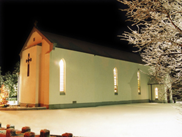 Skehana Church by night in the snow of 2010 - © Gerry Costello Photography