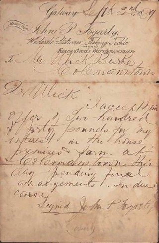 Letter of Acceptance to Ulick Burke in 1889 | ©  Copyright Control