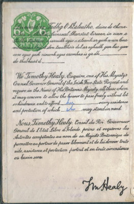 1927 Irish Passport Associated Request Page