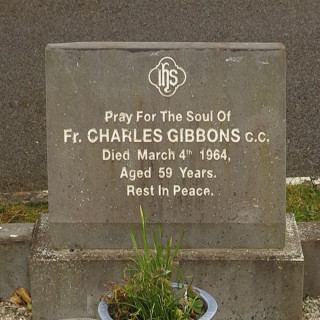 Inscription on the replaced headstone of Fr Charlie Gibbone at Skehana Church.   © Gerry Costello Photography