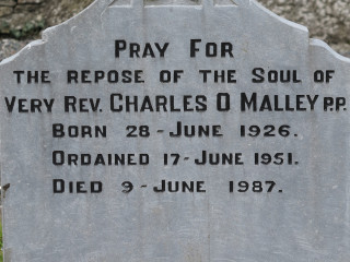 Headstone inscription of Fr Charles O'Malley | © Gerry Costello