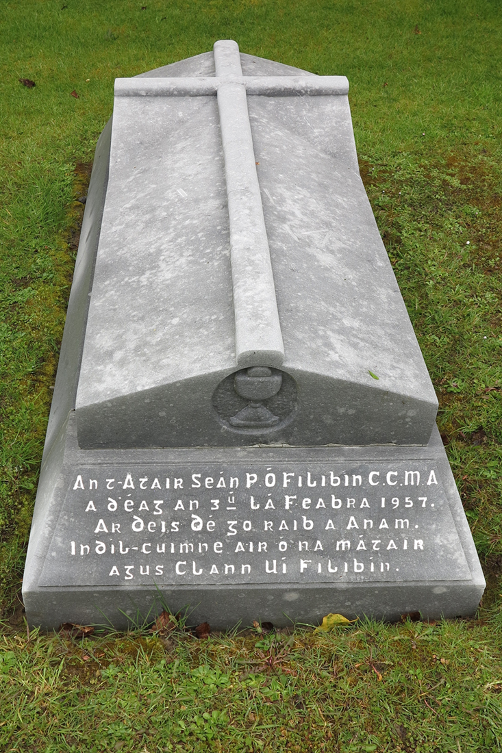 Final resting place and gravestone of Fr John Philbin in Mountbellew Church Grounds.