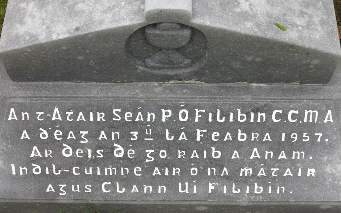 Gravestone inscription for Fr John Philbin - © Gerry Costello Photography