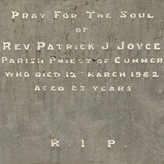 Headstone inscription for Fr Patrick Joyce at Corofin Church | © Gerry Costello Photography