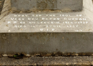 Inscription on the Gravestone of Fr Peter Curran in Killererin Church Grounds | © Gerry Costello Photography