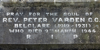 Inscription on the Gravestone of Fr Peter Varden in Belclart Church Grounds.   | © Gerry Costello Photography