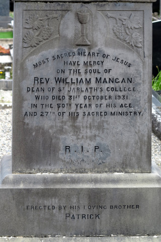 Inscription on the headstone of Fr. William Mangan in Roundfort Cemetery. | © Gerry Costello Photography