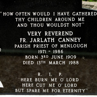 Headstone Inscription for Fr Jarlath Canney in Menlough Church grounds | © Gerry Costello Photography