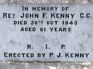 Headstone Inscription fro Fr John F Kenny in Menlough Church Grounds. | © Gerry Costello Photography