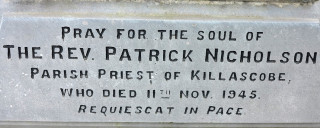 The inscription on the Gravestone of Fr Nicholson PP Menlough 1921-1944 | © Gerry Costello Photography