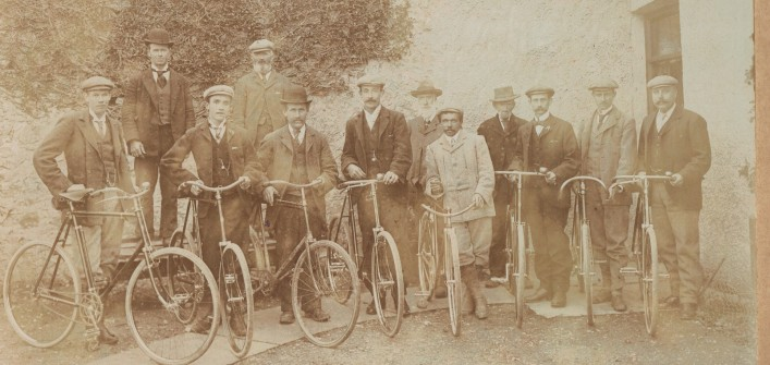 A gathering of men and their bicycles at the gamekeeper's house, Woodlawn Estate | By John Heuston, Courtesy of Alf Seale