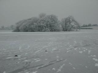 Recorded Monument GA073: 032 (Crannóg) on Calla Lake Winter 2010   Micheál Kilgannon