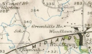 1st Edition Ordnance Survey Map showing location of Shanballard School | https://webgis.archaeology.ie/historicenvironment/