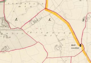 1sr Edition Ordnance Survey MAp showing well location close to townland boundaries   https://maps.osi.ie/publicviewer/#V2,565271,735540,9,7