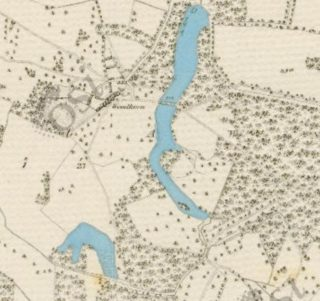 1st Edition Ordnance Survey Map showing the lake and fish pond highlighted in blue | www.archaeology.ie
