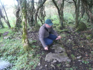 Christy Cunniffe checking out possible Kneeling stone | B. Doherty 2017