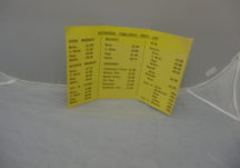 Yellow card take-away price list