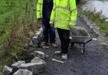 2-Km Stone kerbing completed on river walk