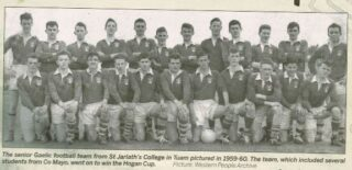 The senior Gaelic football team from St Jarlath's College in Tuam pictured in 1959 - 60. The team, which included several students from Co Mayo, went on to win the Hogan Cup.  | Picture: Western People Archive