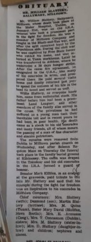 Obituary of my grandfather's (Martin Slattery Ballymary) brother William