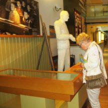 Mary Cunningham studying the exhibits | Photo: B. Forde