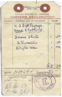 Parcel label 1961
