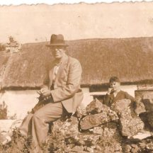 Taken-outside-John and Annie Keanes-old-Thatched-Shop | Killererin Heritage Society