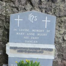 Grave 1 - Headstone of Mary Anne Mulry nee Fahy, Dangan and her grandson Padraic Curran | Bernadette Forde, Killererin Heritage Society