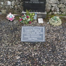 Grave 2 - Plaque on grave of Joseph Desmond Walsh and the Donnellan family, Imanemore commemorating Christy and Kathleen Walsh nee Donnellan | Bernadette Forde, Killererin Heritage Society