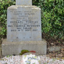 Grave 4: Inscription on celtic cross of the grave of Mary and Michael Thomas Dolan and Mrs. Theresa McVicker nee Dolan | Bernadette Forde, Killererin Heritage Society