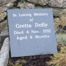 GRAVE 3A - PLAQUE ON GRAVE OF DOLLY FAMILY, DANGAN COMMEMORATING THE LIFE OF GRETTA DOLLY AGED 6 MONTHS WHO IS ALSO BURIED HERE | Bernadette Forde