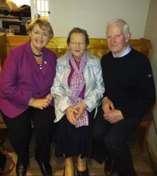 Former Minister for Justice and grandniece of Michael Collins, Nora Owen and Mary and Dom Dunleavy, Killererin Heritage Society | Eileen O'Connell, Killererin Heritage Society